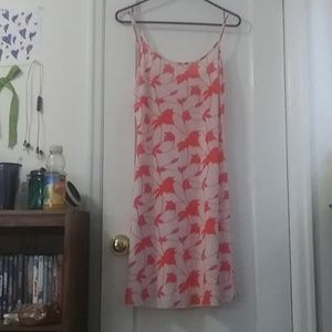 Pajama nighty. Coral and white with leaf print